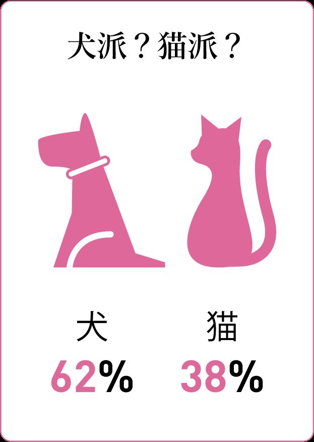 質問カード9:犬派?猫派? 犬派62%猫派38%